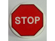 Part No: 30261pb031  Name: Road Sign Clip-on 2 x 2 Round with White 'STOP' in Red Octagon Pattern