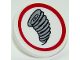 Part No: 30261pb036  Name: Road Sign Clip-on 2 x 2 Round with Tornado Pattern (Sticker) - Set 10261