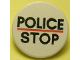 Part No: 30261px1  Name: Road Sign Clip-on 2 x 2 Round with 'POLICE' Red Line 'STOP' Pattern