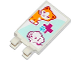 Part No: 30350bpb010  Name: Tile, Modified 2 x 3 with 2 Clips with Cat, Dog, Red Cross and Animal Paw Pattern (Sticker) - Set 41085