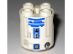 Part No: 30361pb004  Name: Brick, Round 2 x 2 x 2 Robot Body with Blue Lines and Blue Pattern (R2-D2 Clone Wars)