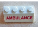 Part No: 3037pb027  Name: Slope 45 2 x 4 with Red 'AMBULANCE' Pattern (Sticker) - Set 60023