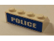 Part No: 3037pb038  Name: Slope 45 2 x 4 with White 'POLICE' Blue Background Wide Pattern on Backside (Sticker) - Set 7285