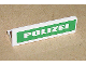 Part No: 30413pb006  Name: Panel 1 x 4 x 1 with White 'POLIZEI' on Green Background Pattern (Sticker) - Set 7236-1