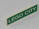 Part No: 30413pb063  Name: Panel 1 x 4 x 1 with White 'LEGO CITY' on Green Background Pattern (Sticker) - Set 60197