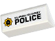 Part No: 3041pb003L  Name: Slope 45 2 x 4 Double with Black 'SUPER SECRET POLICE' and Minifig Head Badge on Left Pattern (Sticker) - Set 70802