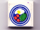 Part No: 3068apb08  Name: Tile 2 x 2 with Blue Circle Plate, Fried Egg, 3 Red Spots Pattern (Sticker) - Set 269