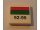 Part No: 3068bpb0212  Name: Tile 2 x 2 with Groove with Red and Green Stripe and '92-95' Pattern (Sticker) - Set 7993