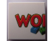 Part No: 3068bpb0219  Name: Tile 2 x 2 with Groove with LEGO World Logo Left Half Pattern