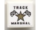 Part No: 3068bpb0289  Name: Tile 2 x 2 with Groove with Star and Checkered Flags and 'TRACK MARSHAL' Pattern (Sticker) - Set 8121