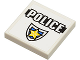 Part No: 3068bpb0302  Name: Tile 2 x 2 with Groove with 'POLICE' Black Line and Badge Pattern (Sticker) - Set 8196