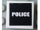 Part No: 3068bpb0308  Name: Tile 2 x 2 with Groove with White 'POLICE' on Black Background Pattern (Sticker) - Set 7236-1