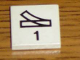 Part No: 3068pb40  Name: Tile 2 x 2 with Black Train Track Switch Point Right and Number 1 Pattern