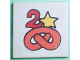 Part No: 3068pb57  Name: Tile 2 x 2 with Fabuland Pretzel, '2', and Star Pattern