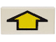 Part No: 3069bp13  Name: Tile 1 x 2 with Arrow Short Yellow with Black Border Pattern