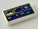 Part No: 3069bp61  Name: Tile 1 x 2 with Blue and Yellow Controls Pattern (Ice Planet)