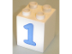Part No: 31110pb021  Name: Duplo, Brick 2 x 2 x 2 with Number 1 Blue Pattern