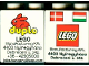 Part No: 31110pb041  Name: Duplo, Brick 2 x 2 x 2 with Lego Logo, Duplo Logo, Danish and Hungarian Flag Pattern - Lego Factory Hungary Promotional (Version with Postal Address)
