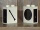Part No: 3245apx2  Name: Brick 1 x 2 x 2 with Train Switch Black Pattern, Left Arrow