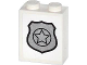 Part No: 3245cpb024  Name: Brick 1 x 2 x 2 with Inside Stud Holder with Silver Police Badge Pattern (Sticker)