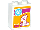 Part No: 3245cpb034  Name: Brick 1 x 2 x 2 with Inside Stud Holder with Paw Print, Dog Sitting and Bones in Bowl Pattern (Sticker) - Set 41085
