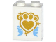 Part No: 3245cpb040  Name: Brick 1 x 2 x 2 with Inside Stud Holder with Gold Paw Print with Heart and Medium Blue Ribbon Pattern (Sticker) - Set 41142