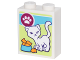 Part No: 3245cpb051  Name: Brick 1 x 2 x 2 with Inside Stud Holder with Box of Cat Treats with White Cat, White Paw Print and Bowl of Goldfish Pattern (Sticker) - Set 41305
