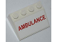 Part No: 3297pb026  Name: Slope 33 3 x 4 with Red 'AMBULANCE' Pattern (Sticker) - Set 4431
