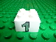 Part No: 3437pb023  Name: Duplo, Brick 2 x 2 with Silver Number 1 Pattern