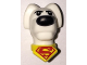 Part No: 35037pb01  Name: Dog Head with Black Eyes and Nose and Yellow Collar with Red Superman Logo Pattern (Krypto the Superdog)
