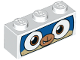 Part No: 3622pb084  Name: Brick 1 x 3 with Dog Face Wide Eyes, Blue and Tan Face, and White Mask Pattern (Dalmatian Puppycorn)