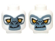 Part No: 3626cpb0974  Name: Minifig, Head Dual Sided Alien Chima Gorilla with Yellow Eyes, Fangs and Gray and White Face, Happy / Angry Pattern (Grizzam) - Stud Recessed