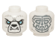 Part No: 3626cpb1255  Name: Minifigure, Head Alien Chima Bear with Black Nose, White Fangs, Blue Eyes and Gray Tribal Markings on Reverse Pattern - Hollow Stud