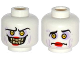Part No: 3626cpb1546  Name: Minifig, Head Dual Sided Alien with Sunken Yellow Eyes, Red Lips, Evil Smile with Teeth /  Confused Pattern - Stud Recessed