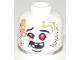 Part No: 3626cpb2207  Name: Minifigure, Head Alien Ninjago Red Eyes, Dark Red Rash, Missing Teeth, Goofy Expression Pattern - Hollow Stud