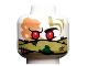 Part No: 3626cpb2208  Name: Minifigure, Head Alien Ninjago Red Eyes, Olive Green Bandana Wrap, Green Splotches, Stitching Pattern - Hollow Stud