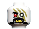 Part No: 3626cpb2209  Name: Minifigure, Head Alien Ninjago Red Eye Right, Olive Green Stripes, Moustache, Yellow Teeth Pattern - Hollow Stud