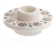 Part No: 38799pb01  Name: Minifigure, Utensil Tea Saucer with Hollow Stud on Top with Flowers and Dots Pattern