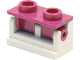 Part No: 3937c06  Name: Hinge Brick 1 x 2 Complete Assembly with Dark Pink Top Plate