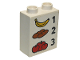 Part No: 4066pb449  Name: Duplo, Brick 1 x 2 x 2 with Banana 1 Bread 2 Tomatoes 3 Pattern