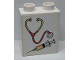 Part No: 4066pb503  Name: Duplo, Brick 1 x 2 x 2 with Stethoscope / Syringe Pattern (Sticker) - Set 9226
