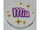 Part No: 4150pb105  Name: Tile, Round 2 x 2 with 'Mia' and Gold Star Pattern