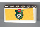 Part No: 4176pb12  Name: Windscreen 2 x 6 x 2 with LEGO Logo and Soccer Ball on Green Shield on Yellow Background Pattern (Sticker)