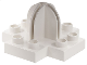 Part No: 42058  Name: Duplo, Plate 4 x 4 with 2 x 2 x 2 dome top and cross cut slots