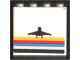 Part No: 4215pb005  Name: Panel 1 x 4 x 3 with Black Airplane and Multicolor Stripes Pattern (Sticker) - Set 6440