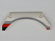 Part No: 42545pb001L  Name: Technic, Panel Car Mudguard Arched 13 x 2 x 5 with Black, Red and Gray Stripes Model Front Left Side