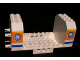 Part No: 42605pb03  Name: Aircraft Fuselage Angular Bottom 6 x 12 x 5 with Windows on Orange & Blue Stripes Pattern