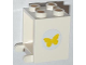 Part No: 4345pb02  Name: Container, Box 2 x 2 x 2 with Yellow Butterfly Pattern (Sticker) - Set 3315