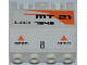 Part No: 44572pb007R  Name: Hinge Panel 2 x 4 x 3 1/3 Locking Dual 2 Fingers with 'MT21', 'LAB 7648', Orange Triangles and 'OPEN' Pattern Model Right Side (Stickers) - Set 7648