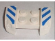 Part No: 44674pb11  Name: Vehicle, Mudguard 2 x 4 with Headlights Overhang with Blue and White Danger Stripes Pattern on Both Sides (Stickers) - Set 8211